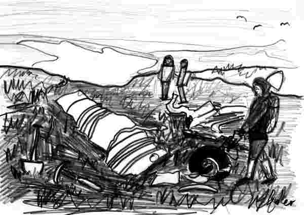 Sketch of a crashed Gloster Javelin Aircraft